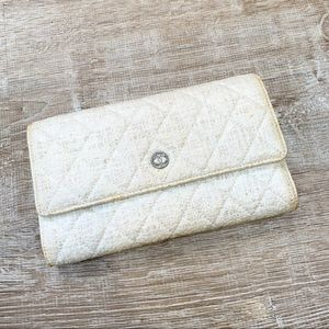Chanel Off White Quilted Clutch Wallet.
